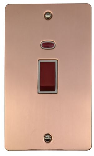 G&H FBC28W Flat Plate Bright Copper 45 Amp DP Cooker Switch & Neon Vertical Plate